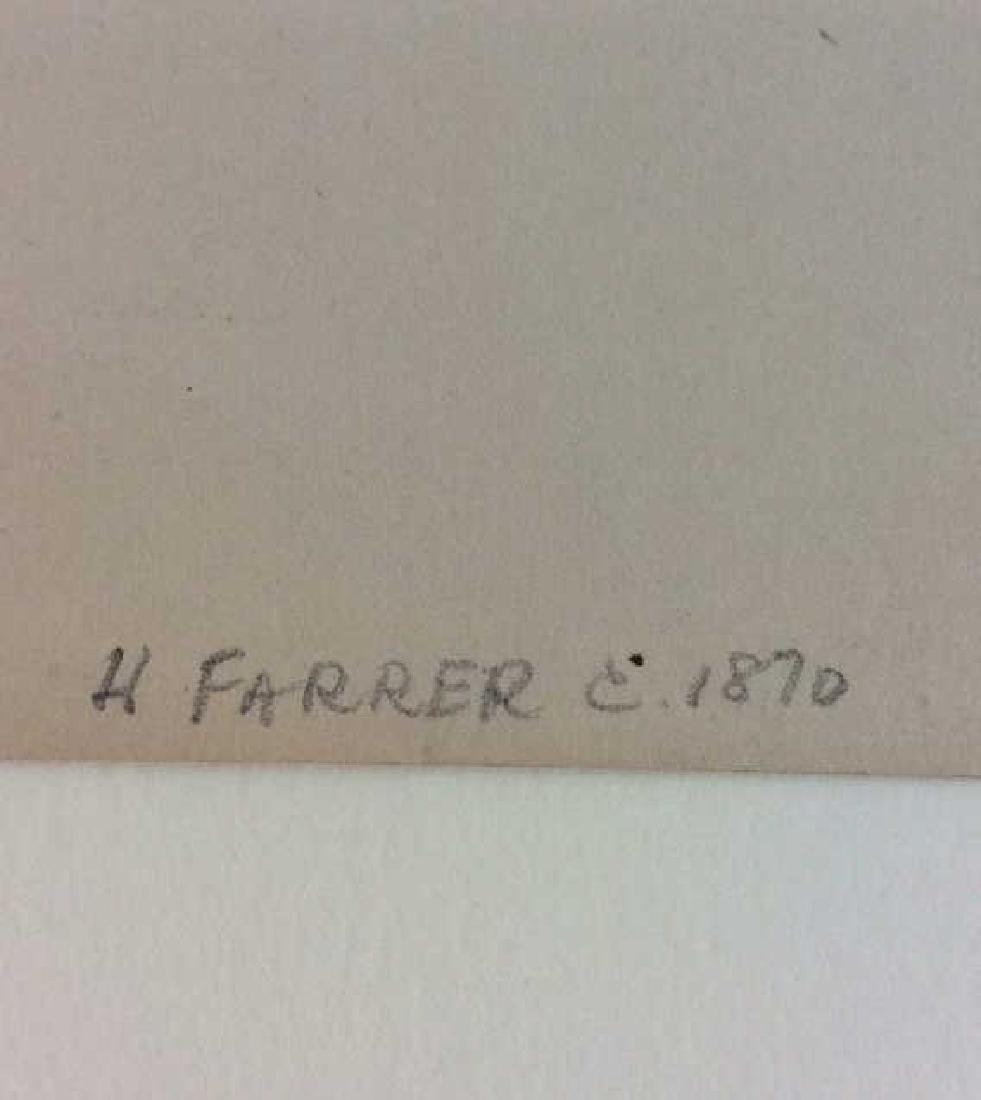 H. Farrer c1870 Pencil Drawing Harbor Scene - 6