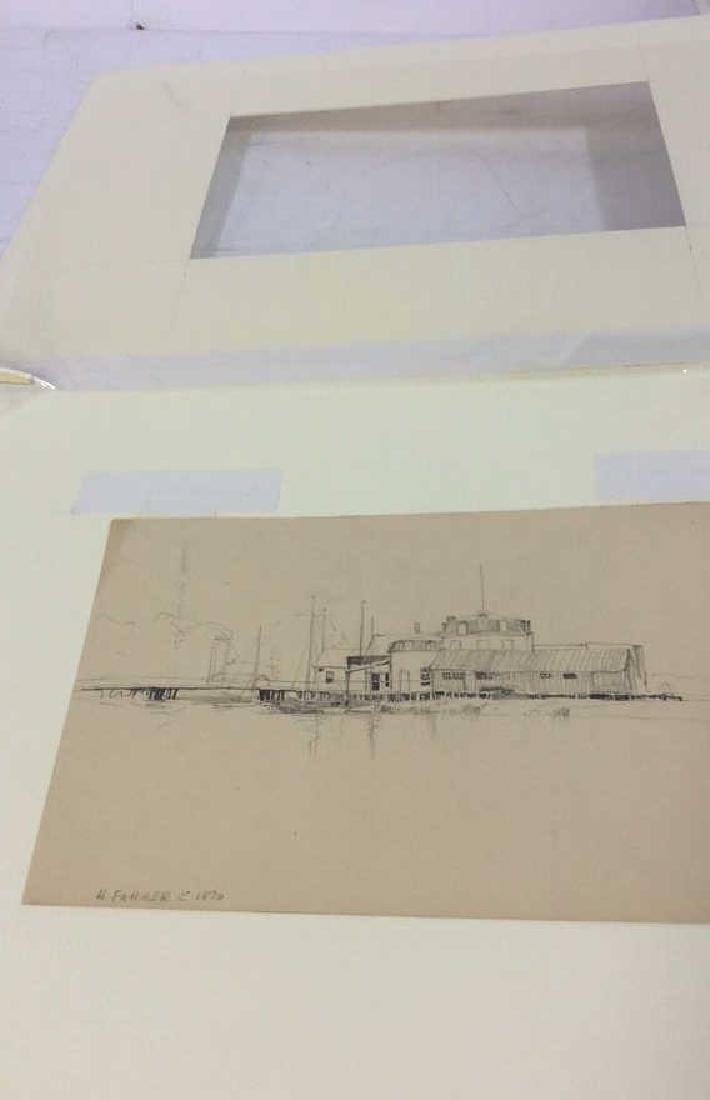 H. Farrer c1870 Pencil Drawing Harbor Scene - 7