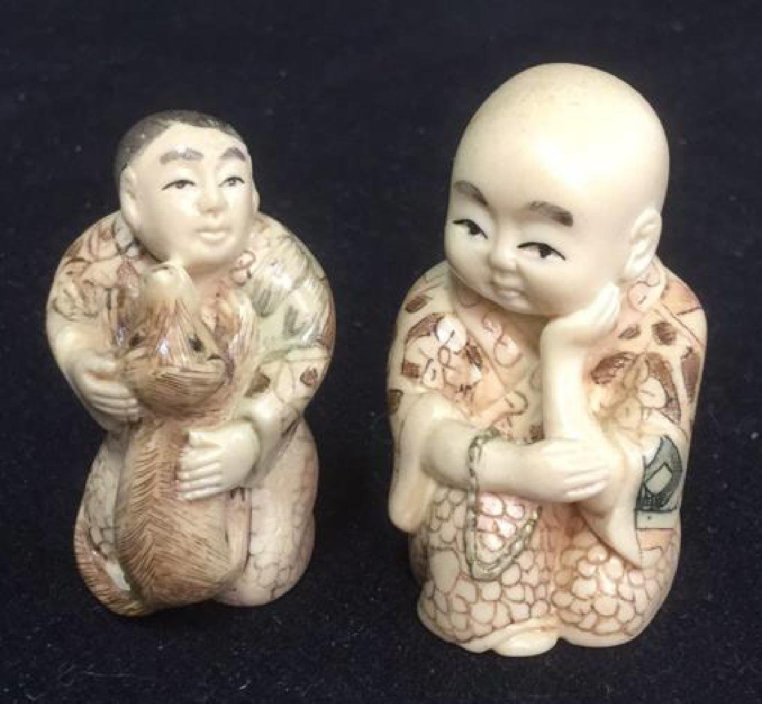 Lot 2 Signed Hand Carved Oriental Figurals Netsuke