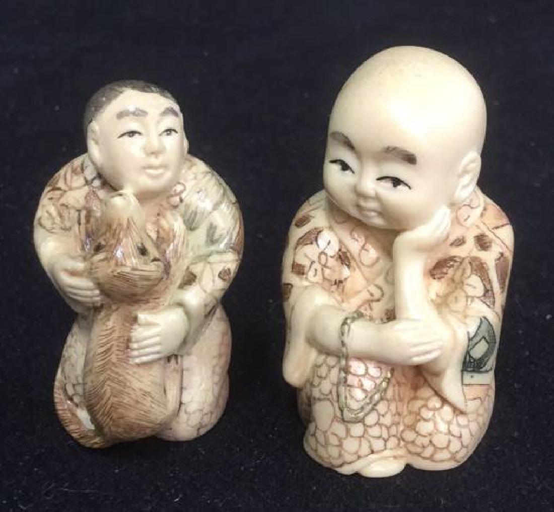 Lot 2 Signed Hand Carved Oriental Figurals Netsuke