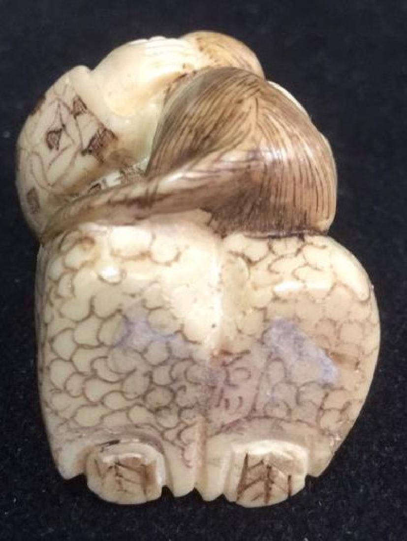 Lot 2 Signed Hand Carved Oriental Figurals Netsuke - 9
