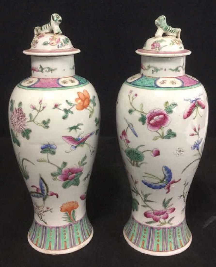 Pair Chinese Oriental Ceramic Porcelain Urns