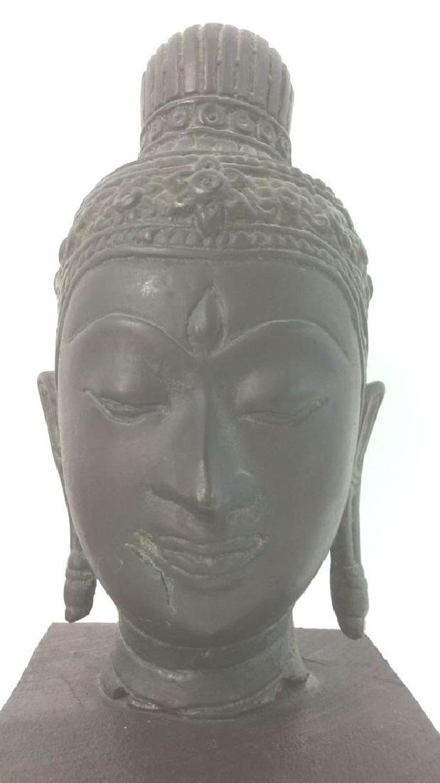 Pedestaled Metal Shiva Head Figural - 4