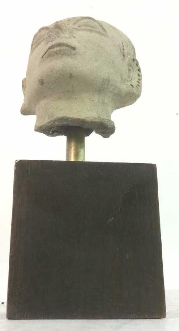 Pedestaled Head Carving Figural Pre-Columbian Styl - 10
