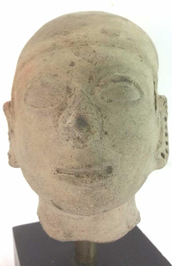 Pedestaled Head Carving Figural Pre-Columbian Styl