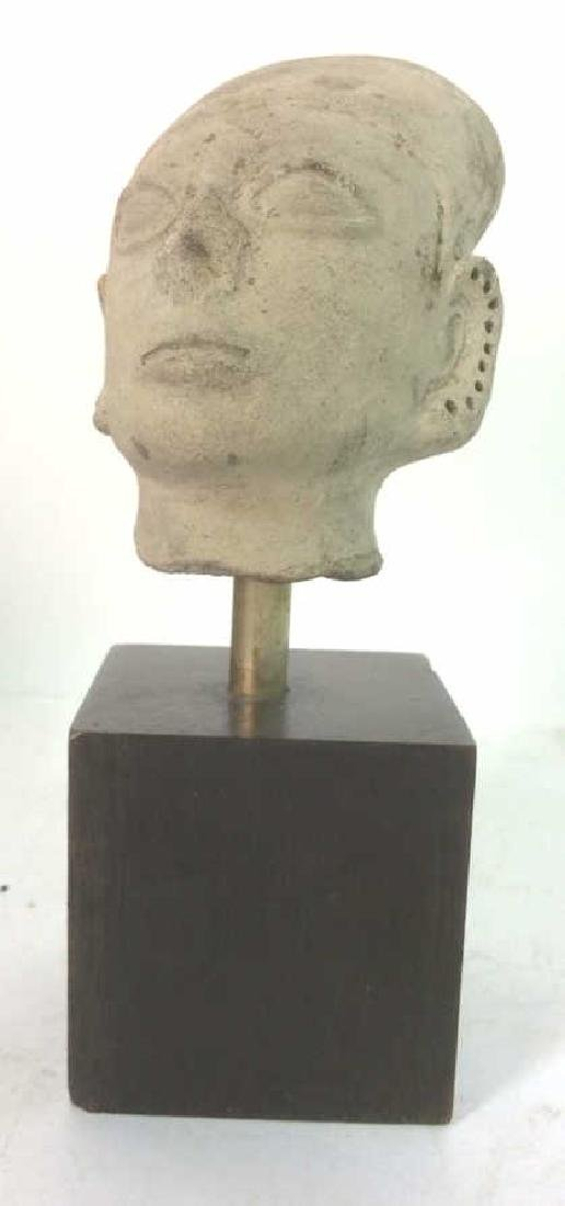 Pedestaled Head Carving Figural Pre-Columbian Styl - 2