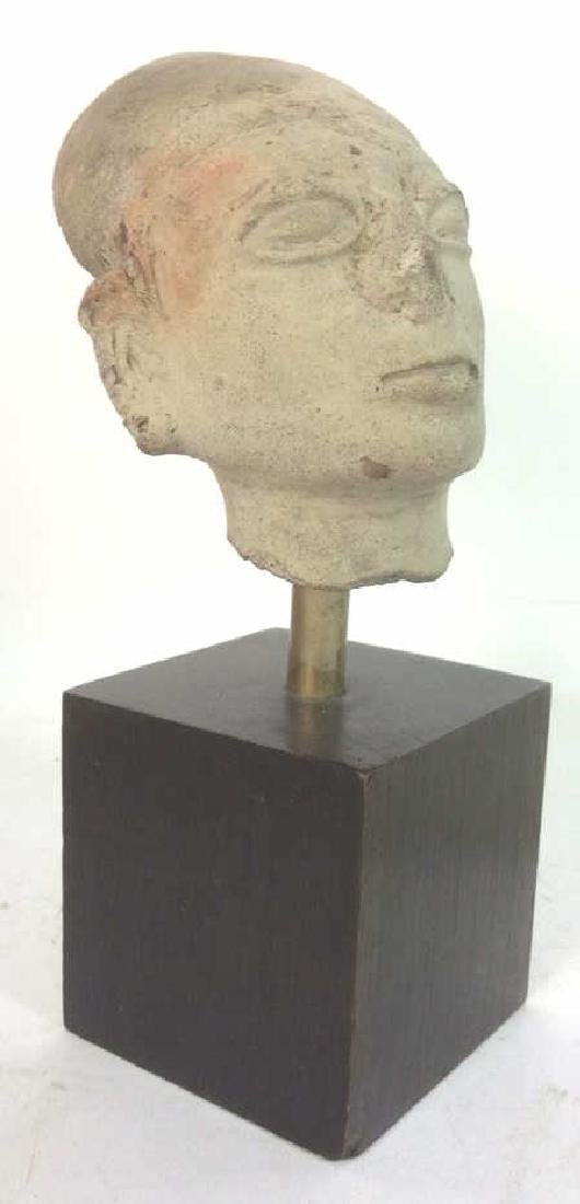 Pedestaled Head Carving Figural Pre-Columbian Styl - 3