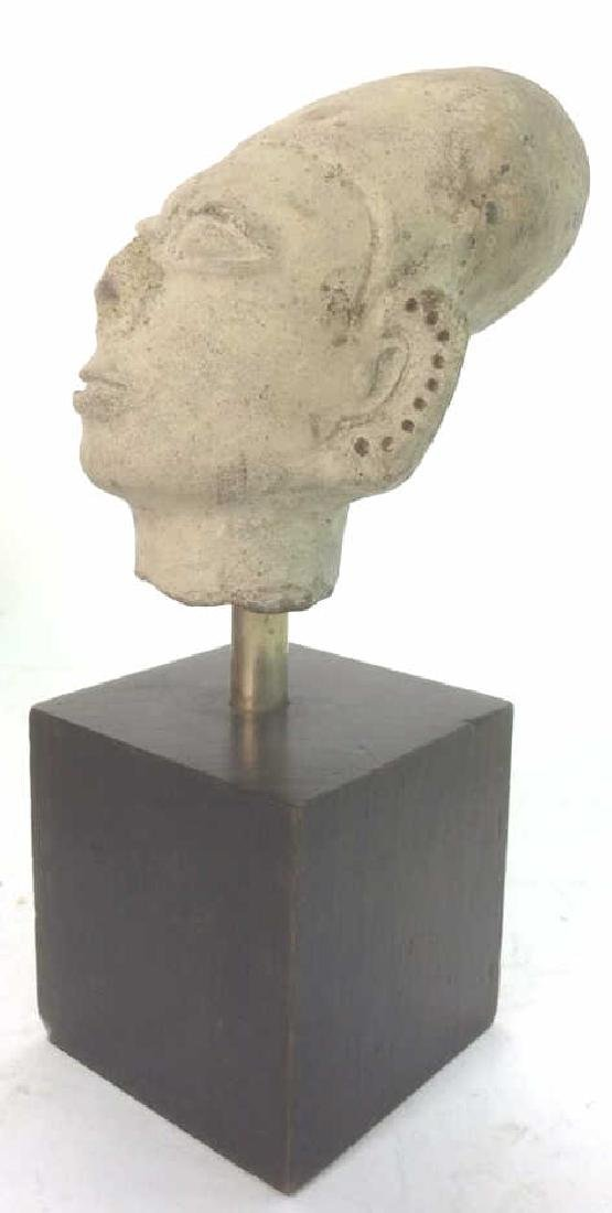 Pedestaled Head Carving Figural Pre-Columbian Styl - 4