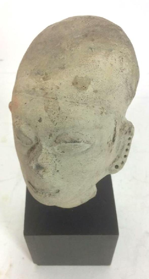 Pedestaled Head Carving Figural Pre-Columbian Styl - 9