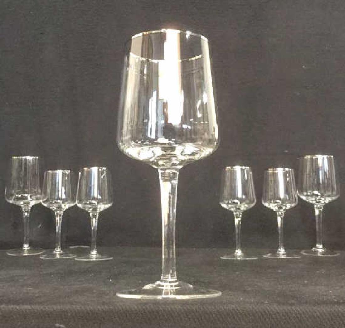 Lot 7 Crystal Silver Toned Rim Goblets
