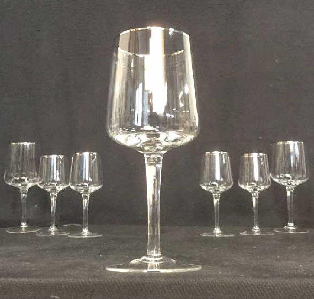 Lot 7 Crystal Silver Toned Rim Goblets