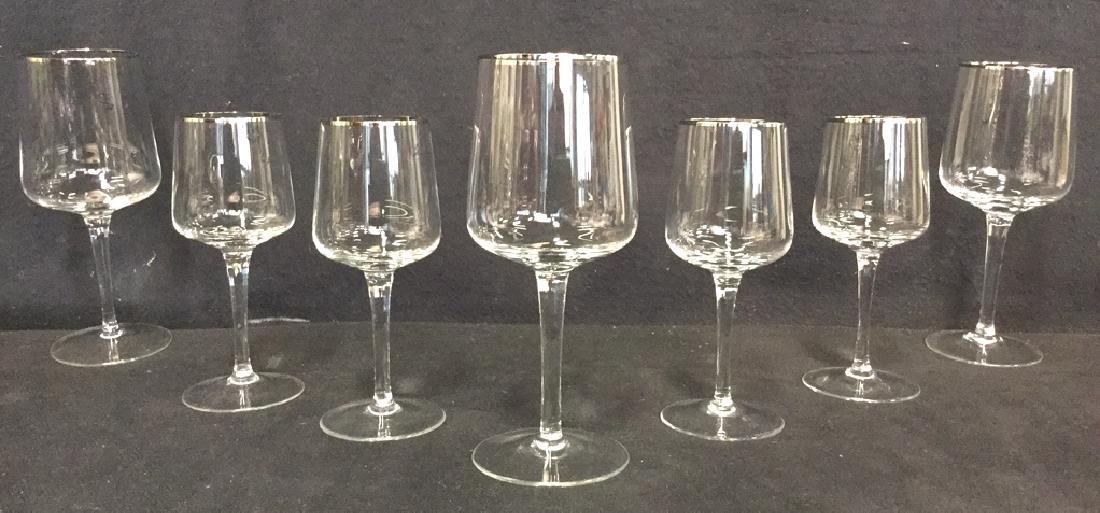 Lot 7 Crystal Silver Toned Rim Goblets - 3