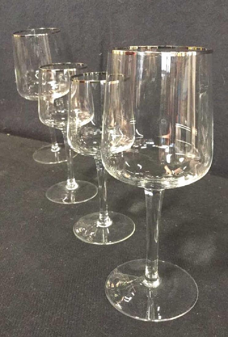 Lot 7 Crystal Silver Toned Rim Goblets - 4