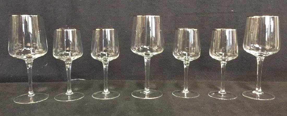 Lot 7 Crystal Silver Toned Rim Goblets - 5