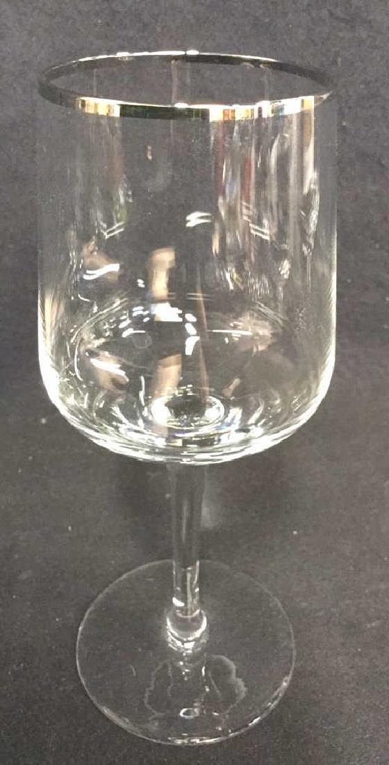Lot 7 Crystal Silver Toned Rim Goblets - 7