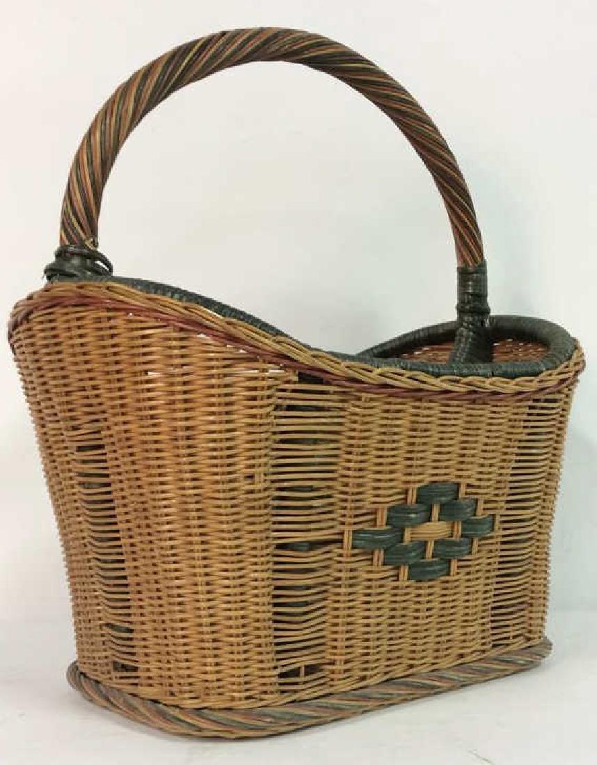Multi Toned Woven Wicker Basket