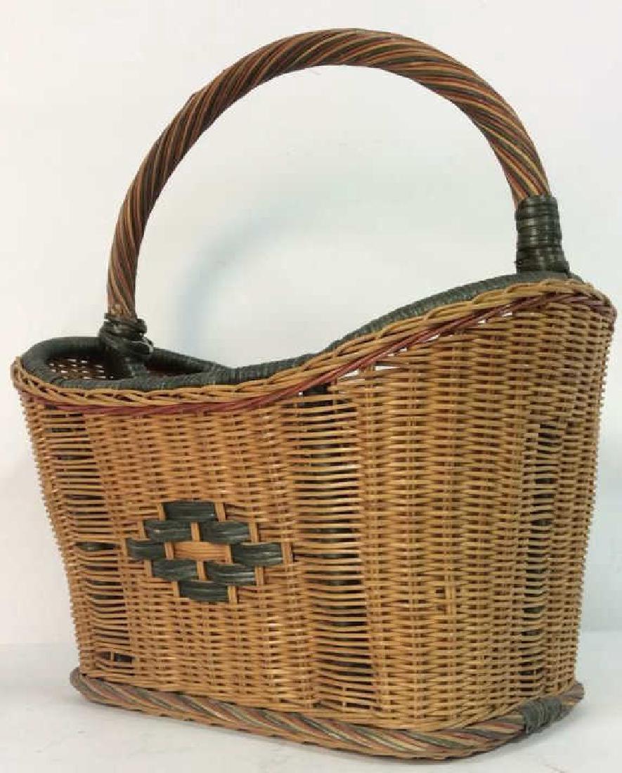 Multi Toned Woven Wicker Basket - 2