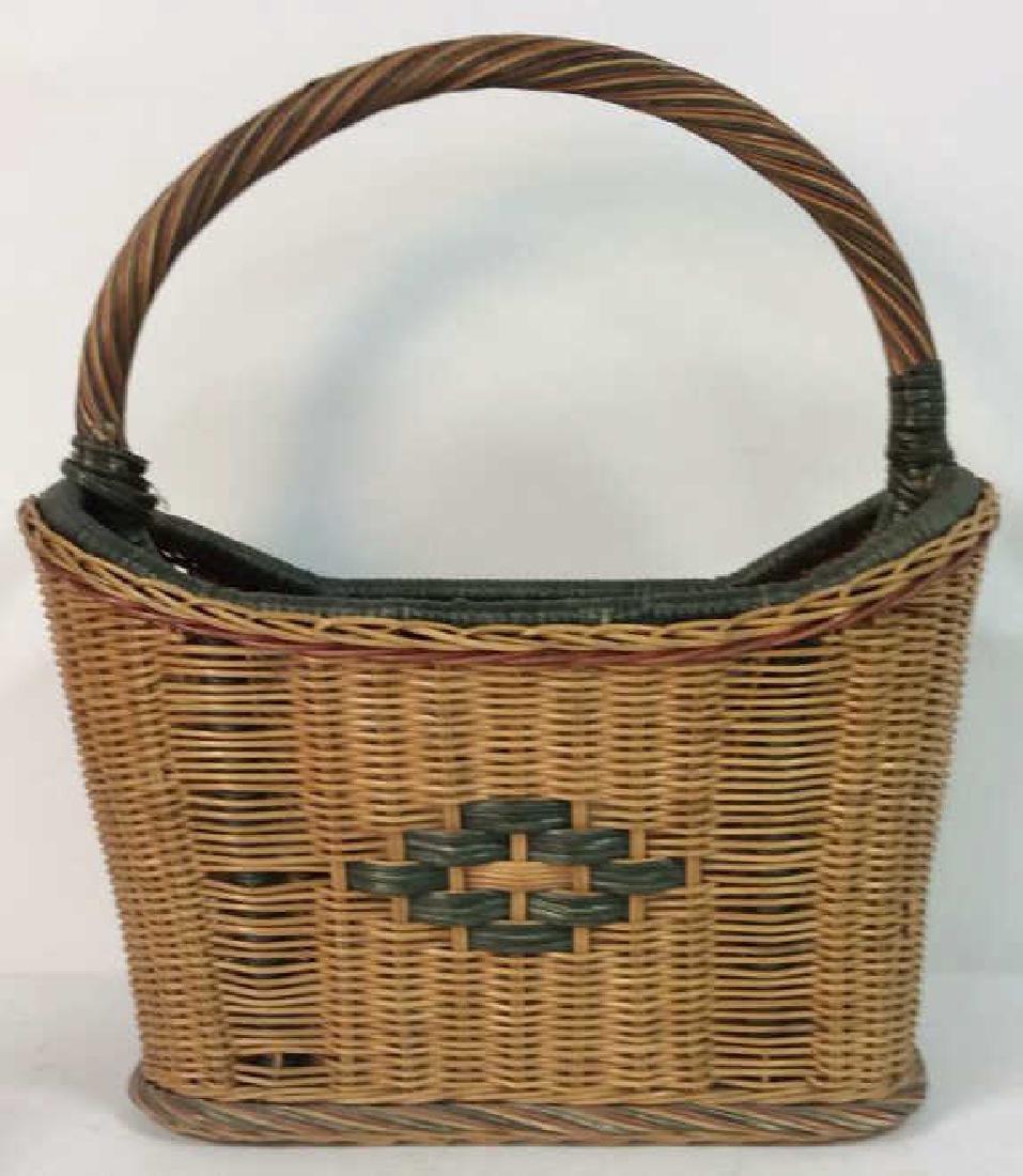 Multi Toned Woven Wicker Basket - 3