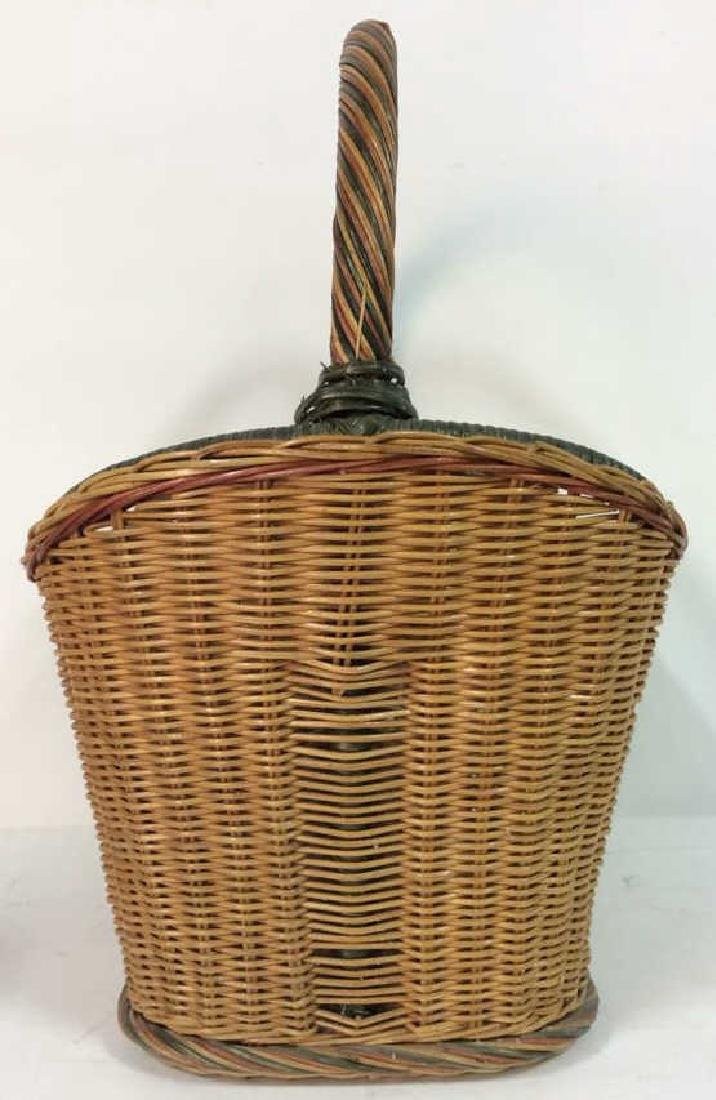 Multi Toned Woven Wicker Basket - 4
