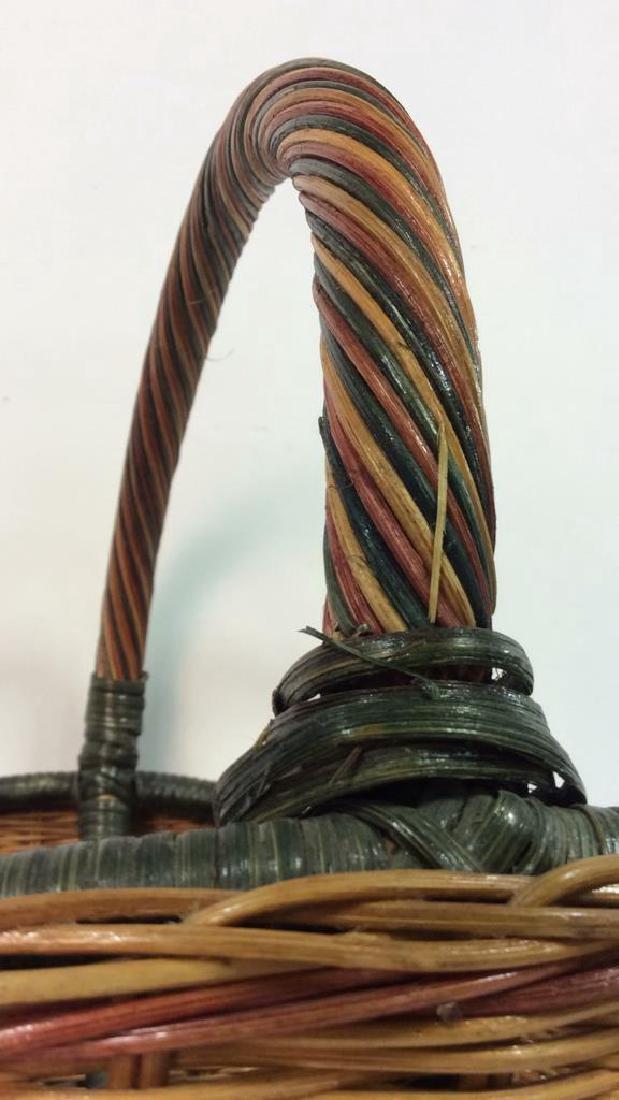 Multi Toned Woven Wicker Basket - 5
