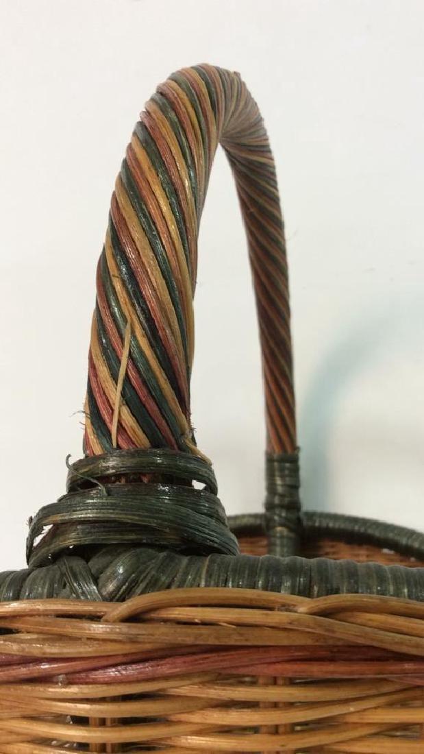 Multi Toned Woven Wicker Basket - 6