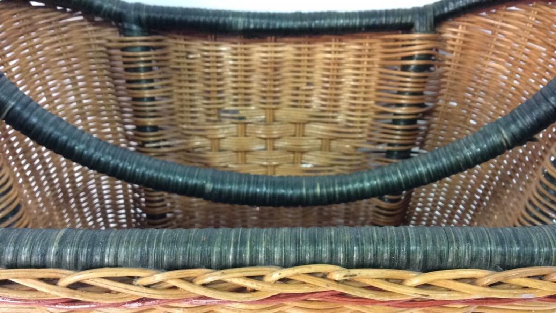 Multi Toned Woven Wicker Basket - 8