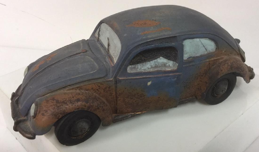Lot 3 Painted Plaster VW Beetle Car Sculptures - 2