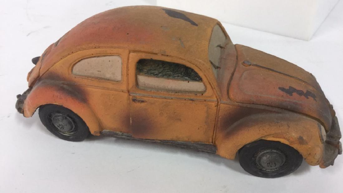 Lot 3 Painted Plaster VW Beetle Car Sculptures - 3