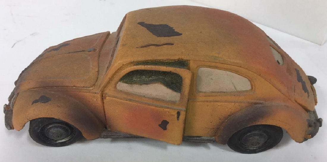 Lot 3 Painted Plaster VW Beetle Car Sculptures - 6