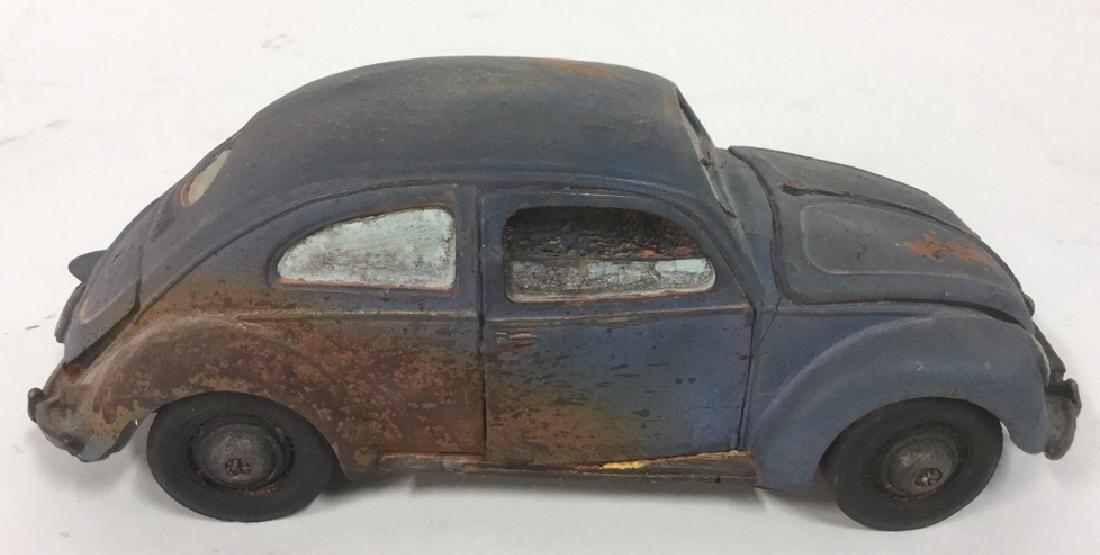 Lot 3 Painted Plaster VW Beetle Car Sculptures - 7