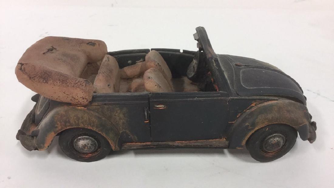 Lot 3 Painted Plaster VW Beetle Car Sculptures - 8