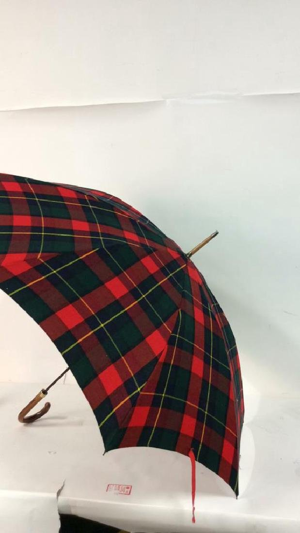 Red Toned Tarten Plaid Cloth Umbrella - 5