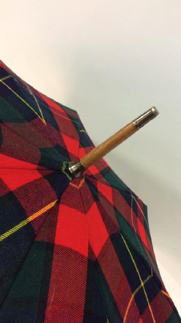Red Toned Tarten Plaid Cloth Umbrella - 6
