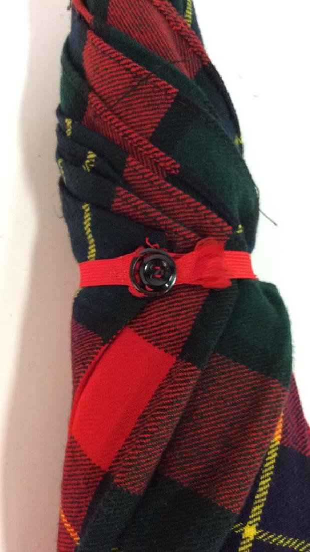 Red Toned Tarten Plaid Cloth Umbrella - 8