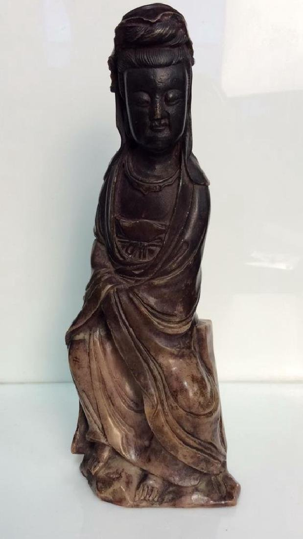 Oriental Style Sitting Female Marble Statuette - 2