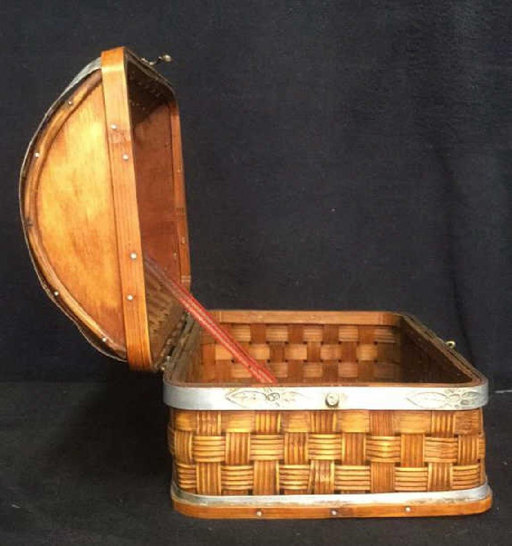 Vintage Style Lidded Basket With Metal Accents - 4