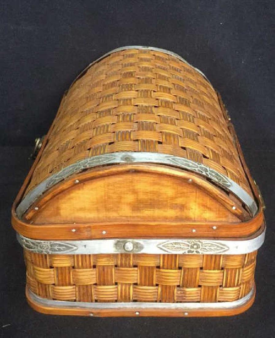 Vintage Style Lidded Basket With Metal Accents - 6
