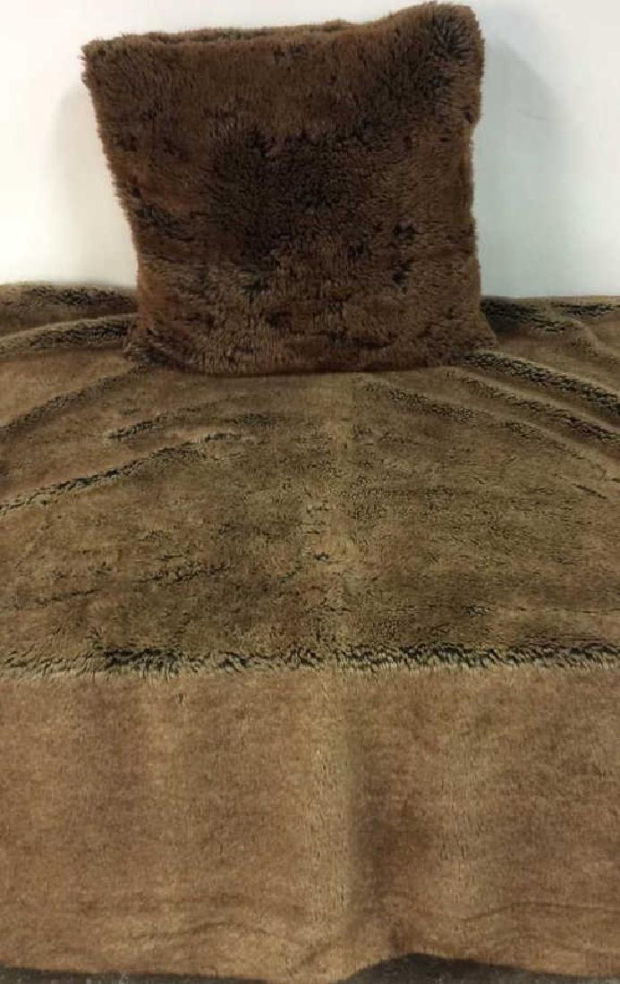 POTTERY BARN Faux Fur Blanket & Pillow