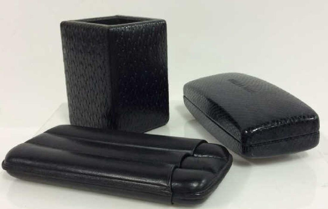 Lot 3 Black Toned Leather Men's Accessories