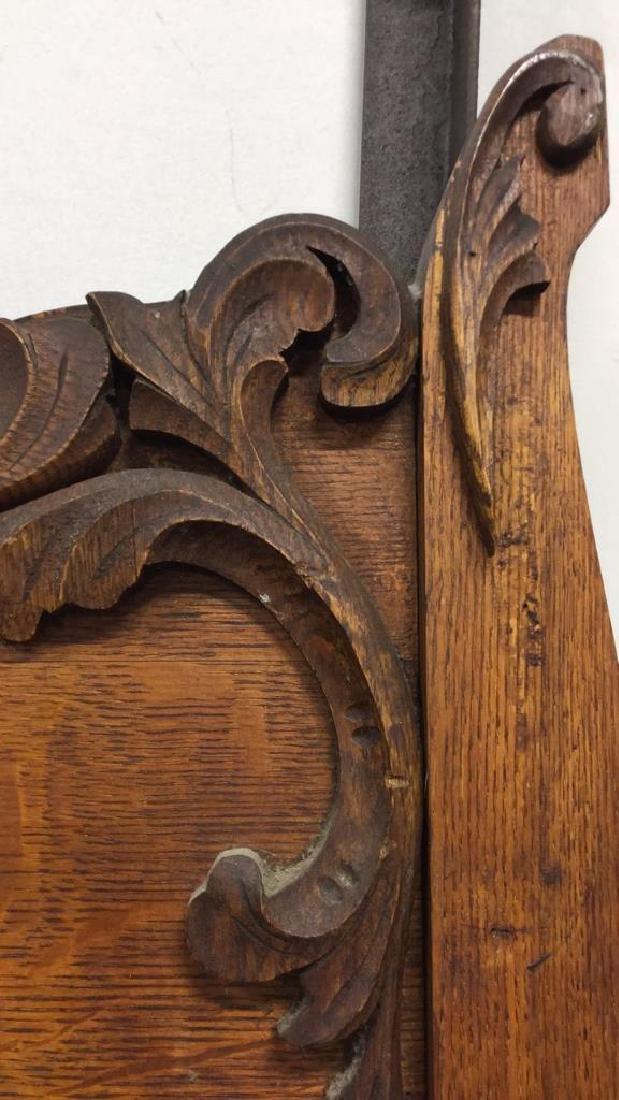 Vintage Carved Wood Headboard - 7