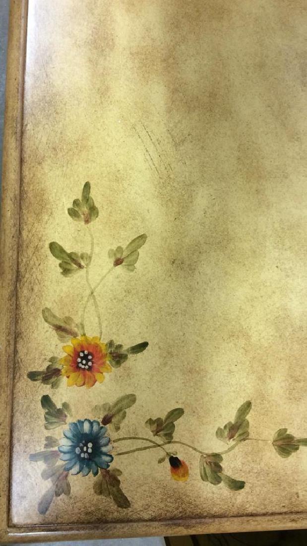 Vintage Wooden Floral Detailed End Table - 4