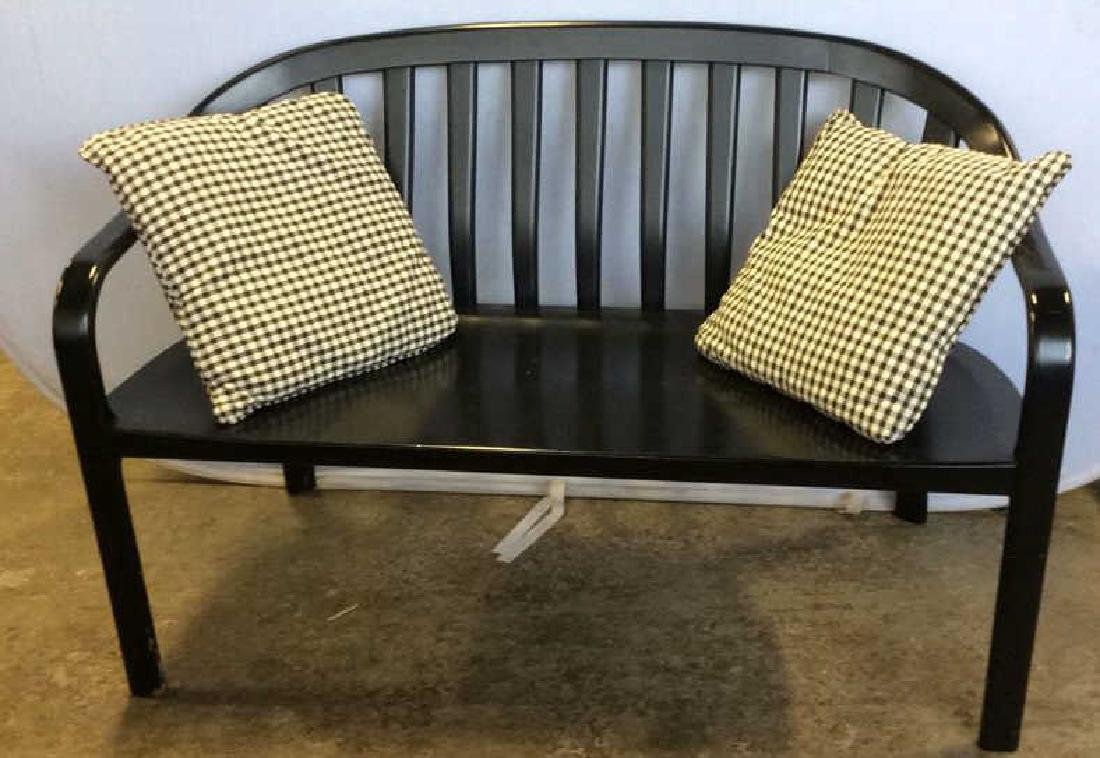 Lot 3 Black Toned Wooden Bench W Pillows - 3