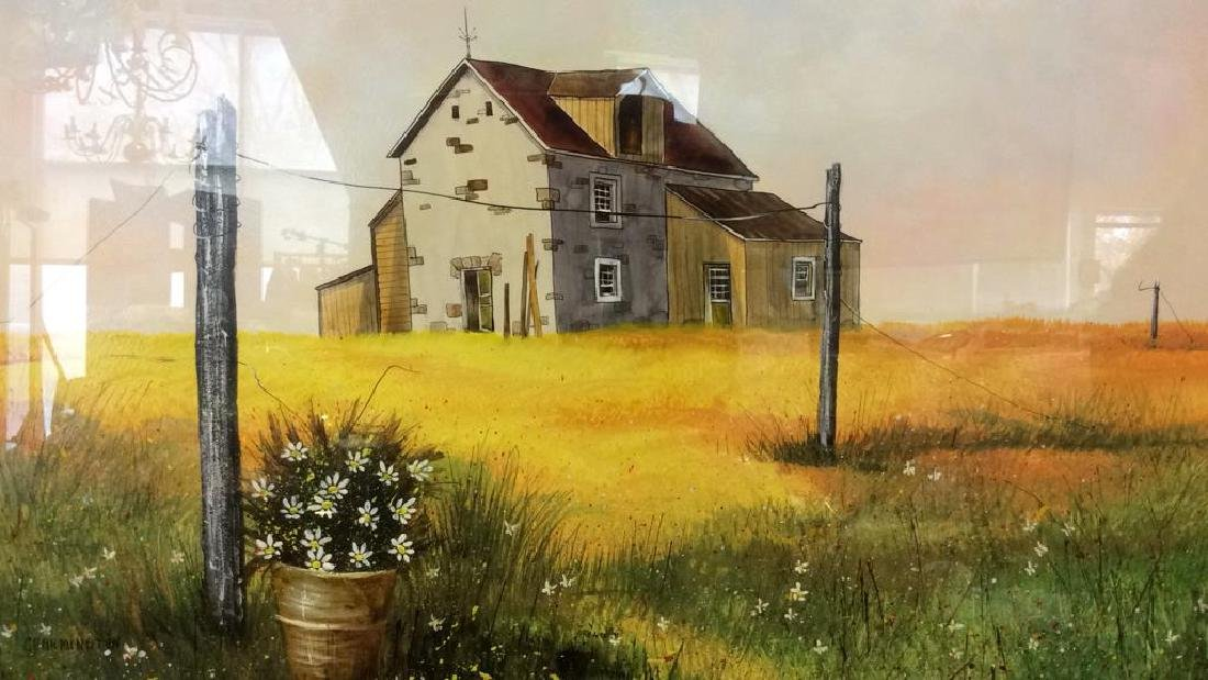 Signed Mixed Media Landscape W House Painting - 2
