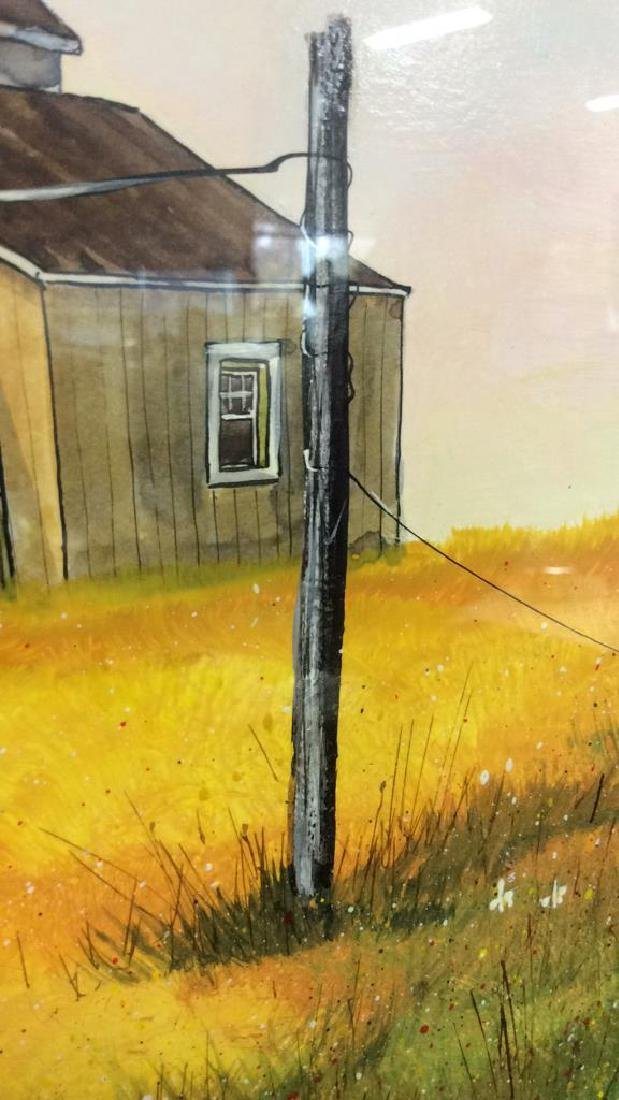 Signed Mixed Media Landscape W House Painting - 5