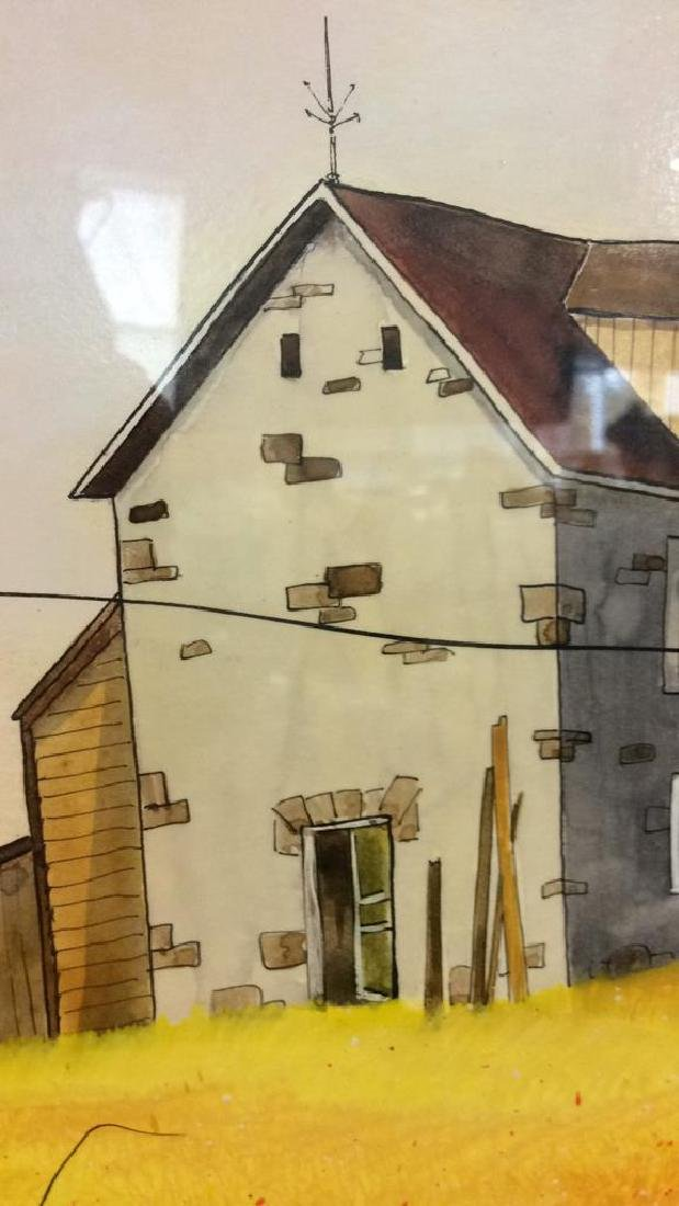 Signed Mixed Media Landscape W House Painting - 6