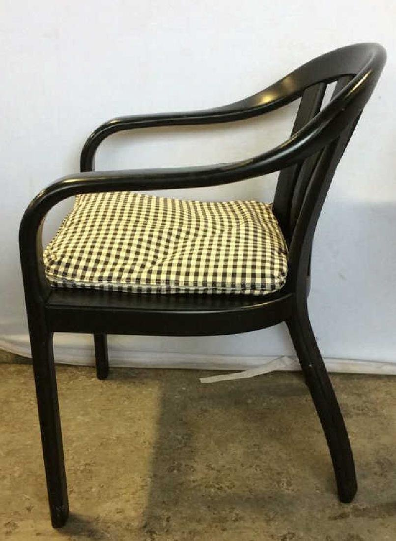 Lot 2 Black Wooden Toned Chair 1 Pillow - 6