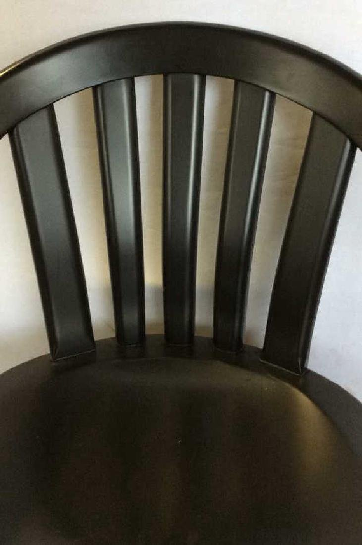 Lot 2 Black Wooden Toned Chair 1 Pillow - 8