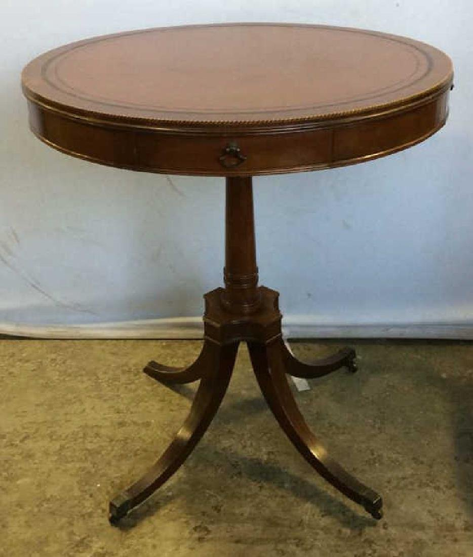 Round 2 Drawer Wooden Pedestal Side Table