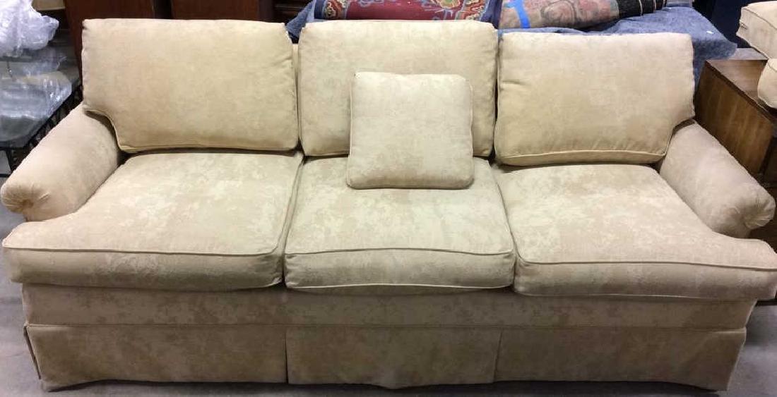 Lot PaleYellow Toned Textured Sofa W Throw Pillows