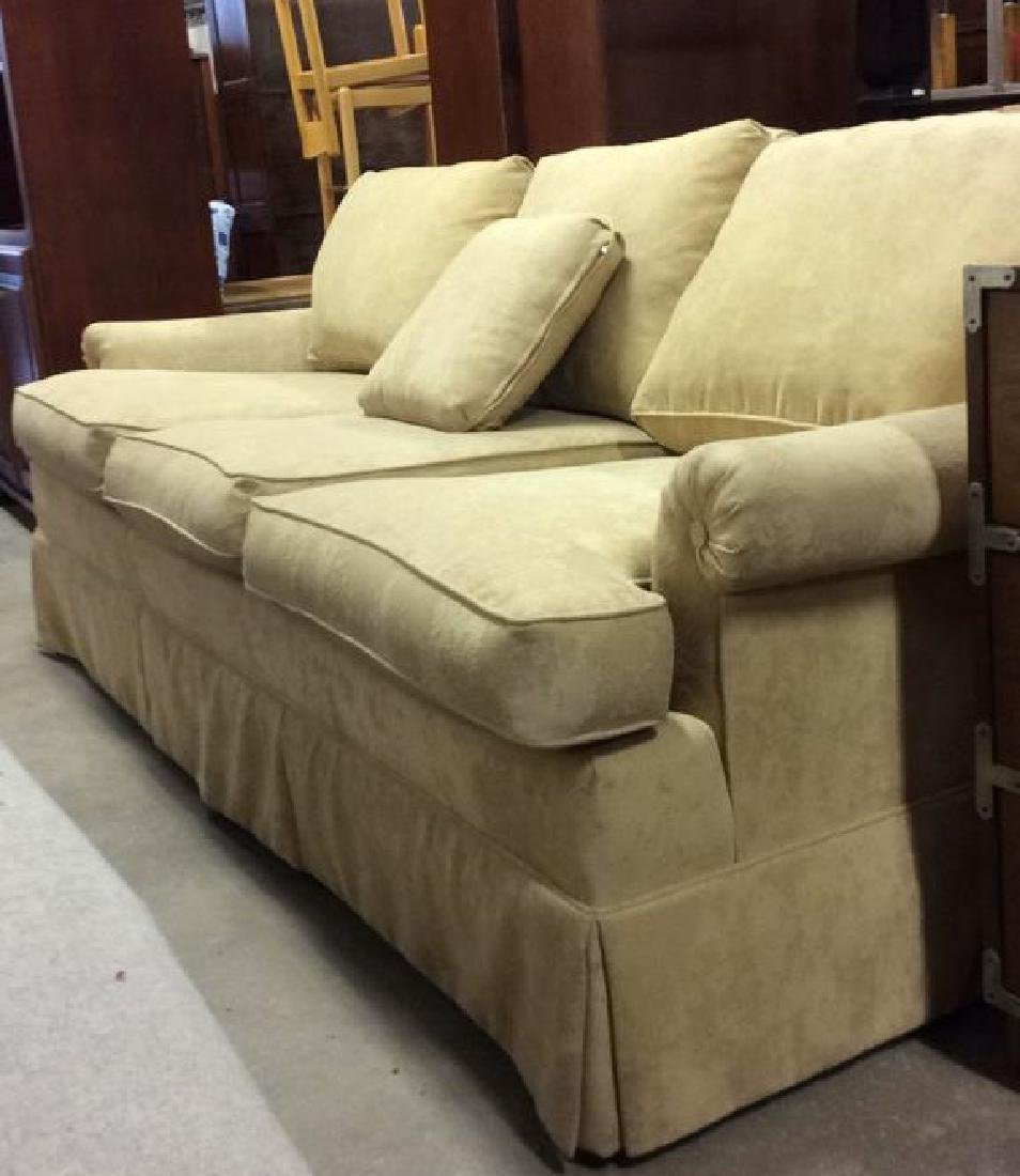 Lot PaleYellow Toned Textured Sofa W Throw Pillows - 3